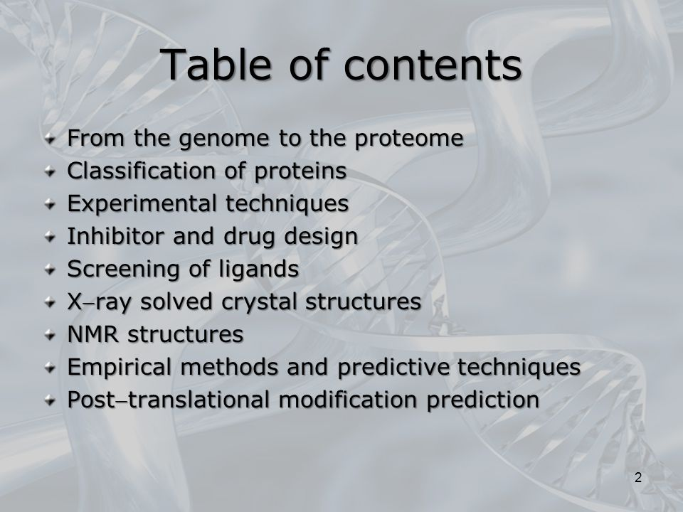 Table of contents From the genome to the proteome