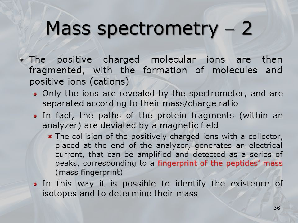 Mass spectrometry  2 The positive charged molecular ions are then fragmented, with the formation of molecules and positive ions (cations)