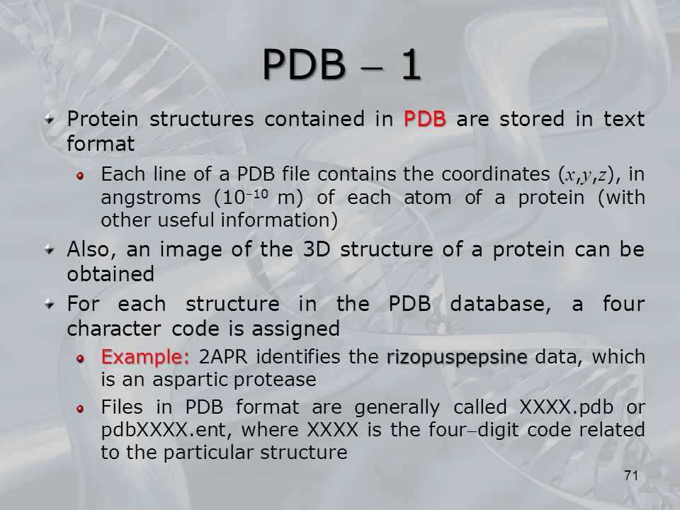 PDB  1 Protein structures contained in PDB are stored in text format