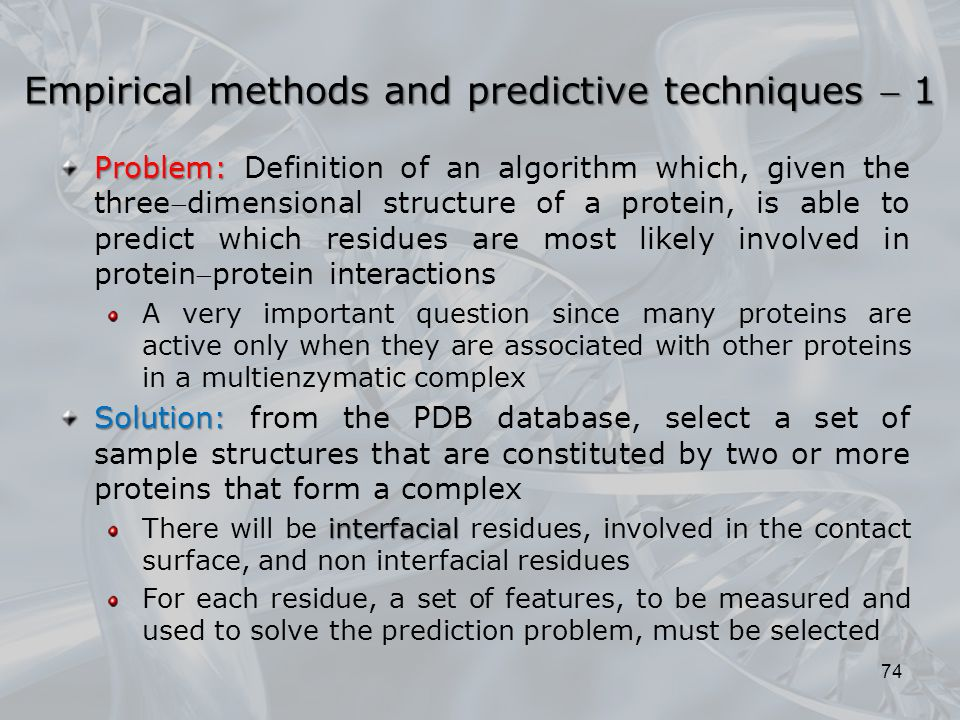 Empirical methods and predictive techniques  1