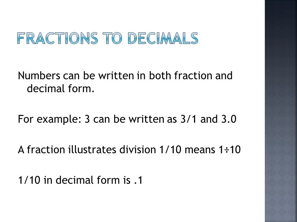 Fractions, Decimals and Percents - ppt video online download