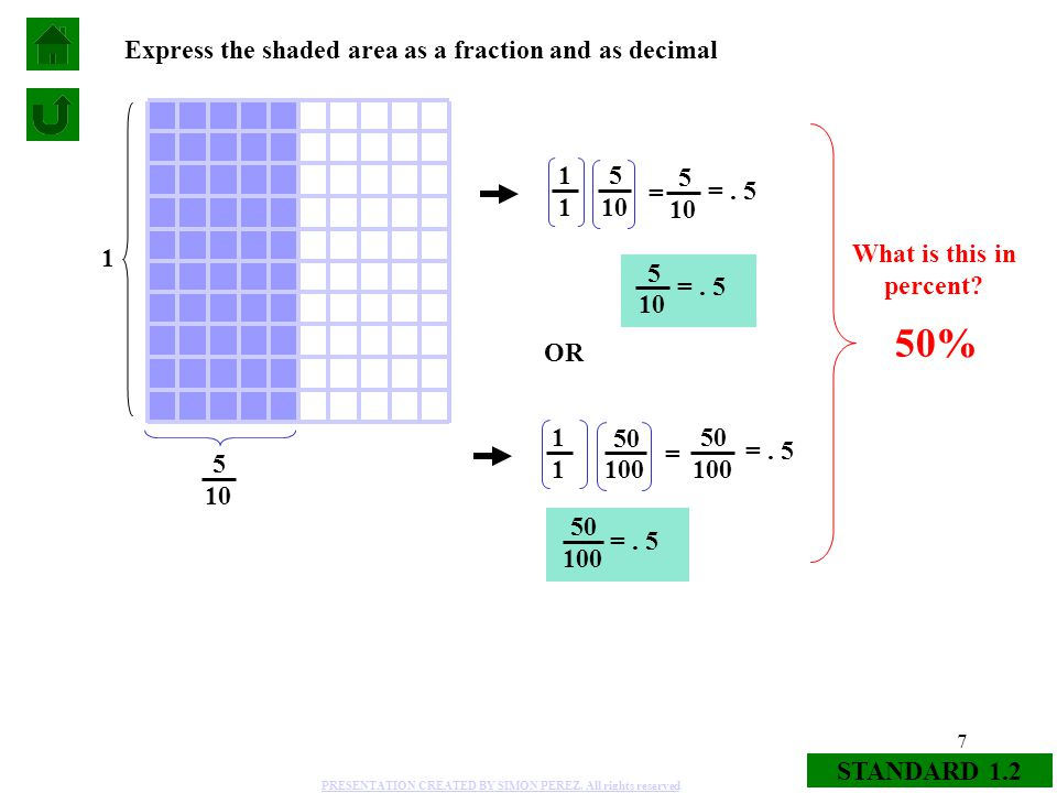 Areas: Fraction to Decimal (%) - ppt video online download