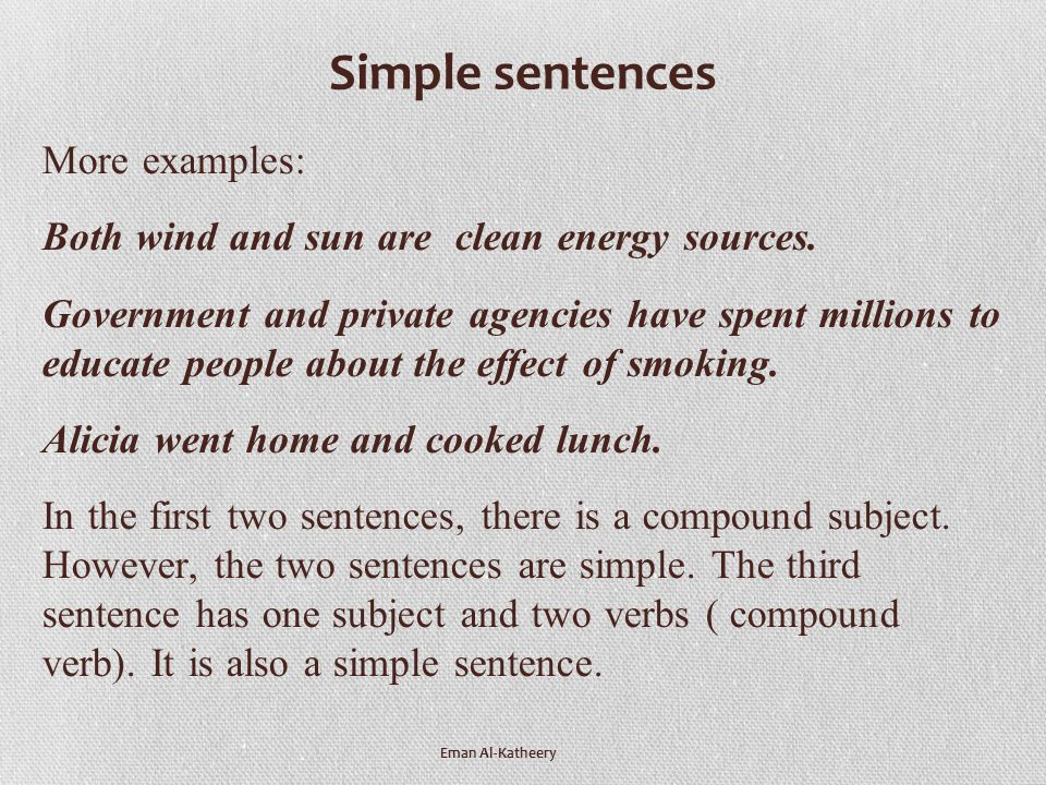 Simple and compound sentences examples pdf