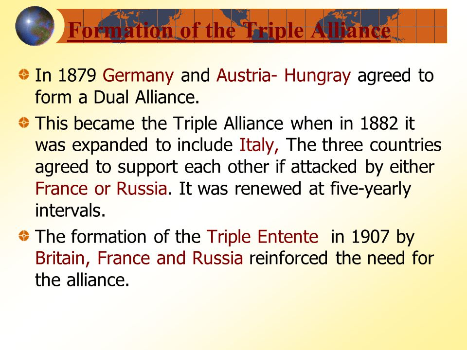 a look at the formation and objectives of the dual alliance of 1879 Under the resulting dual alliance, austria-hungary and germany pledged to help defend the other against an attack by russia in the event of war between germany and france, however, austria-hungary promised nothing more than neutrality unless russia were also involved.