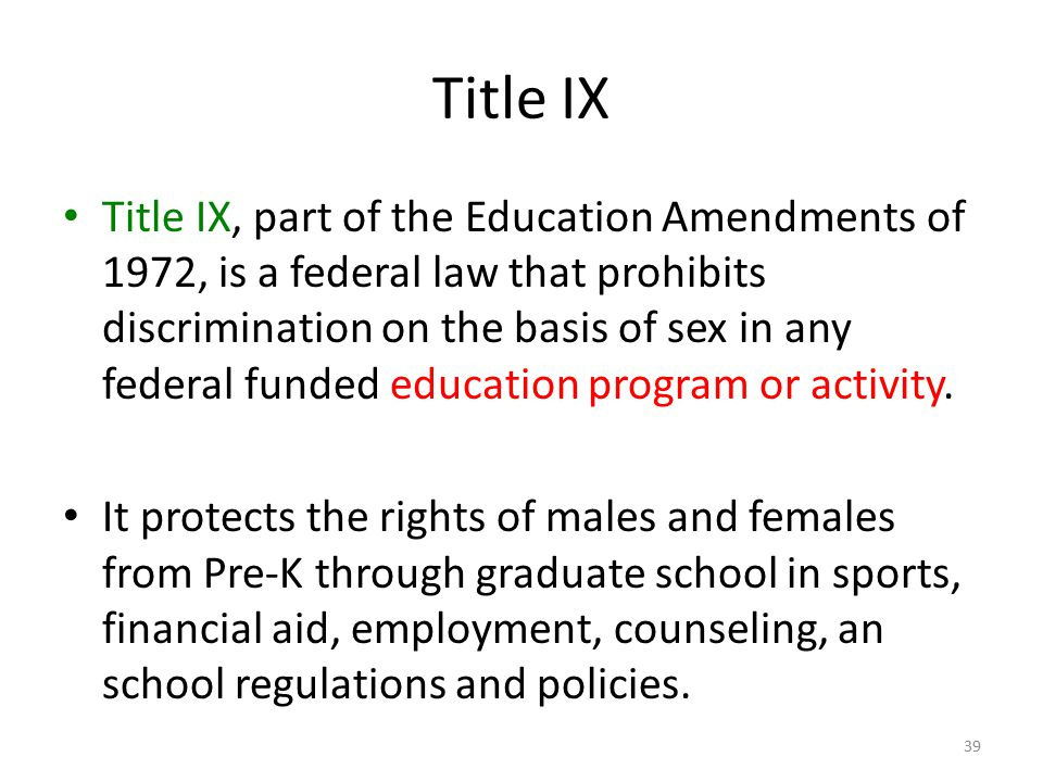 title ix amendment essay Title ix at 40 title ix is a portion of the education amendments of 1972 which states no person in the united states shall, on the basis of sex, be excluded from participation in, be denied the benefits of, or be subjected to discrimination under any education program or activity receiving federal financial assistance this federal civil.
