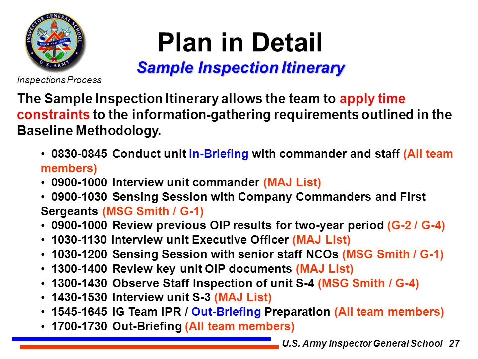 the inspections process u s  army inspector general school