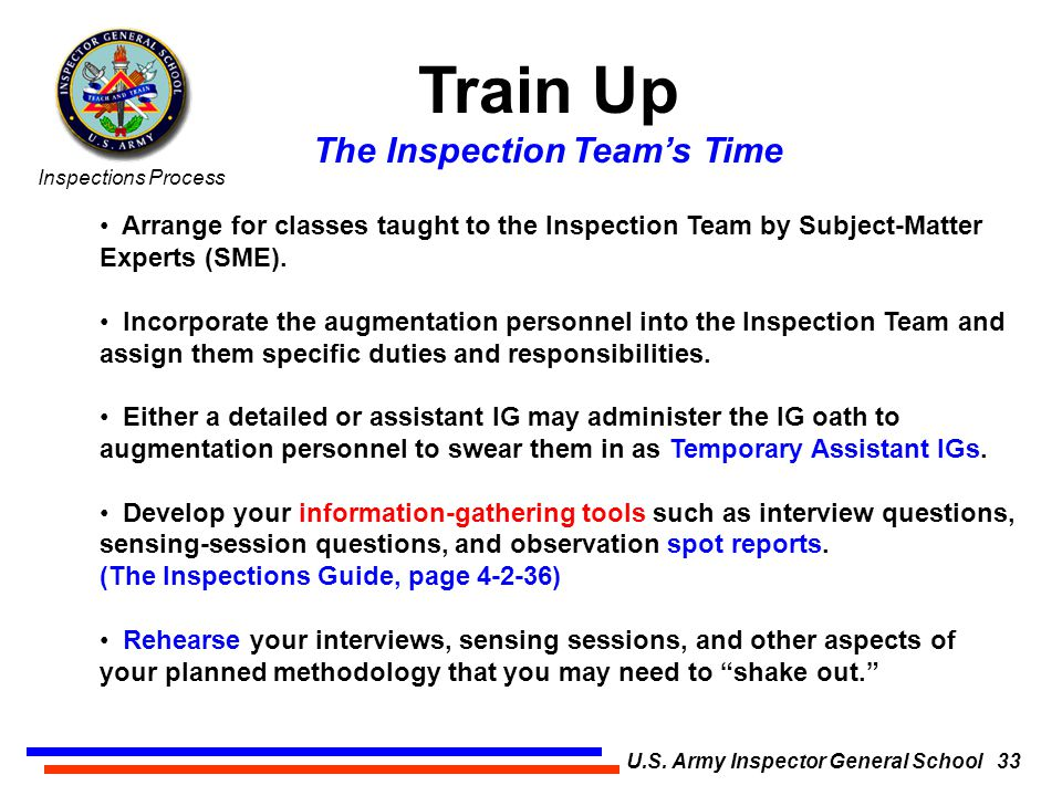 The Inspections Process U.S. Army Inspector General School ...