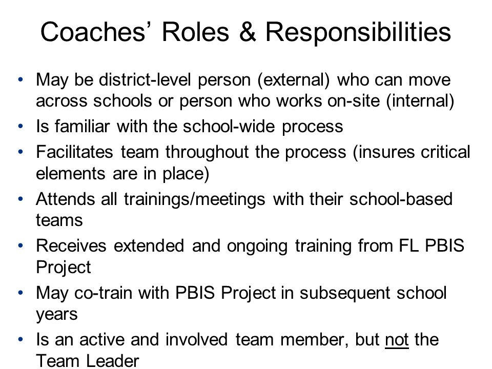 Coaches' Roles & Responsibilities