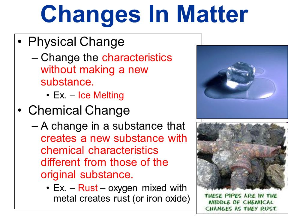 Changes In Matter Physical Change Chemical Change