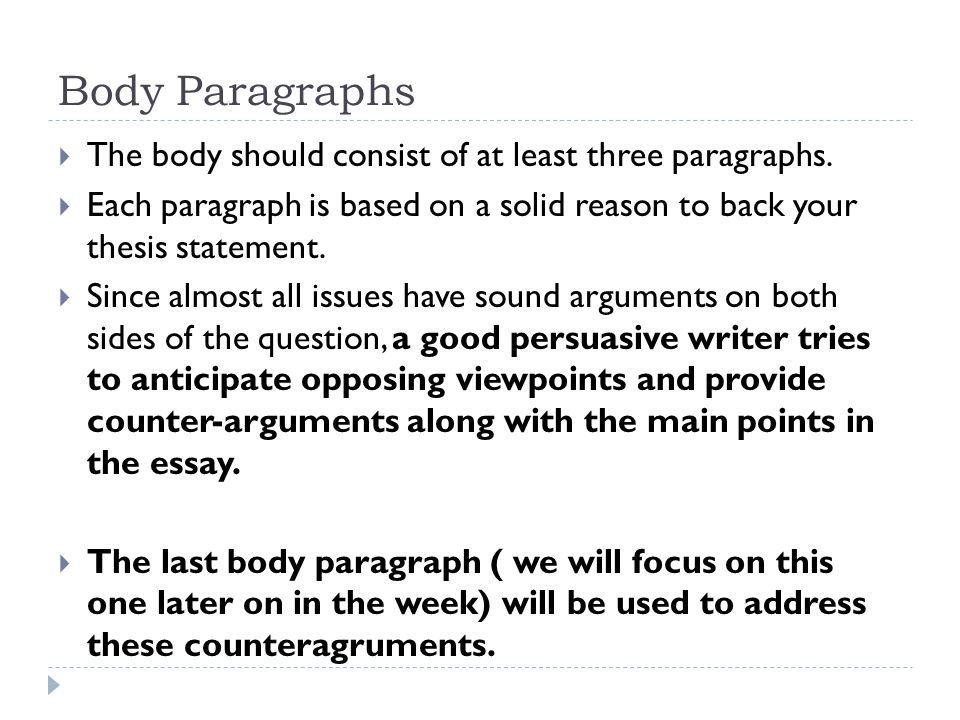 persuasive essay body and conclusion ppt video online 5 body paragraphs