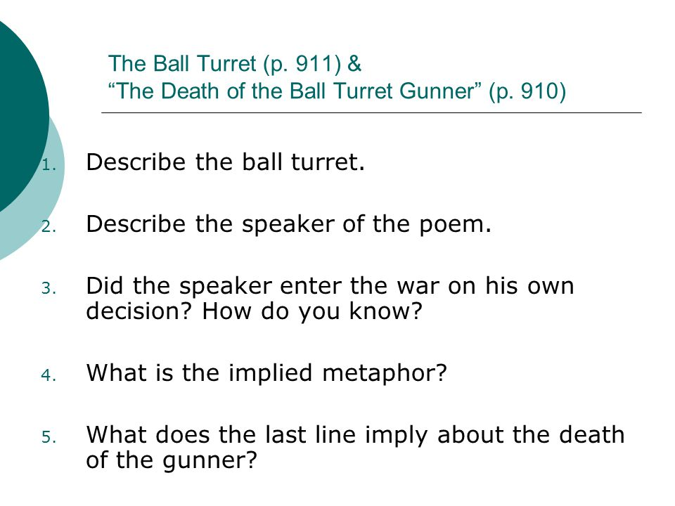 an analysis of the death of the ball turret gunner Analysis of randall jarrell's the death of the ball turret gunner topics: poetry essay about the death of the ball turret gunner poem analysissuffering, fierce indoctrinations, and the use of new and.