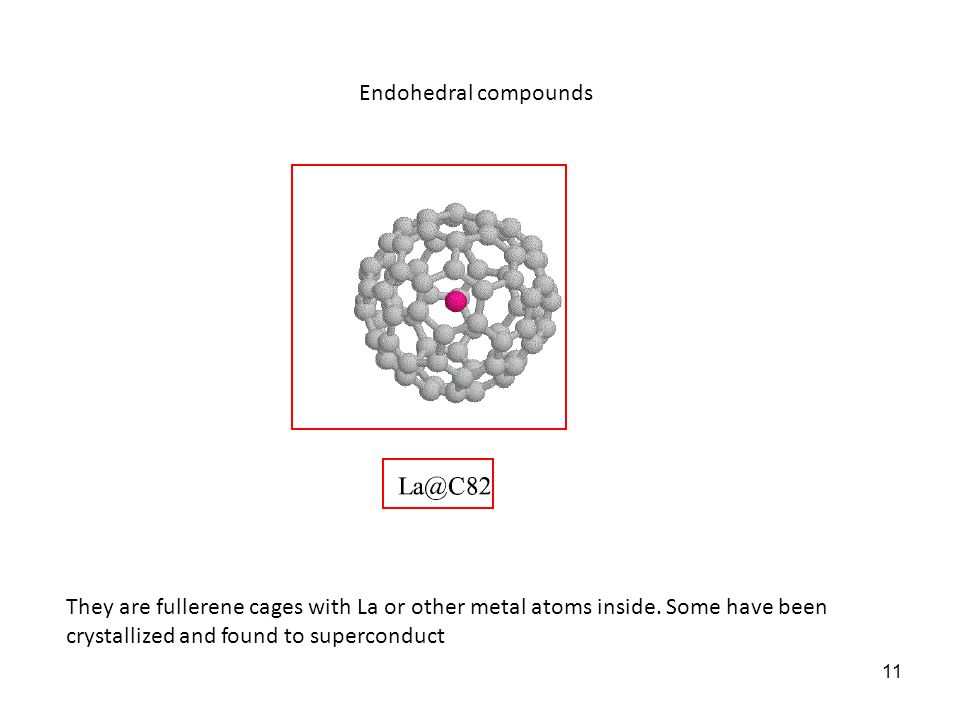 Endohedral compounds They are fullerene cages with La or other metal atoms inside. Some have been crystallized and found to superconduct.