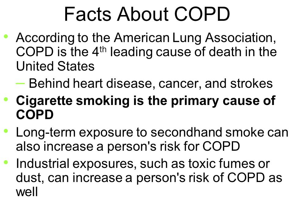 copd longterm conditions Chronic obstructive pulmonary disease (copd) is an umbrella term for a number of lung diseases that prevent proper breathing three of the most common conditions are emphysema, chronic bronchitis and chronic asthma that isn't fully reversible these conditions can occur separately or together.
