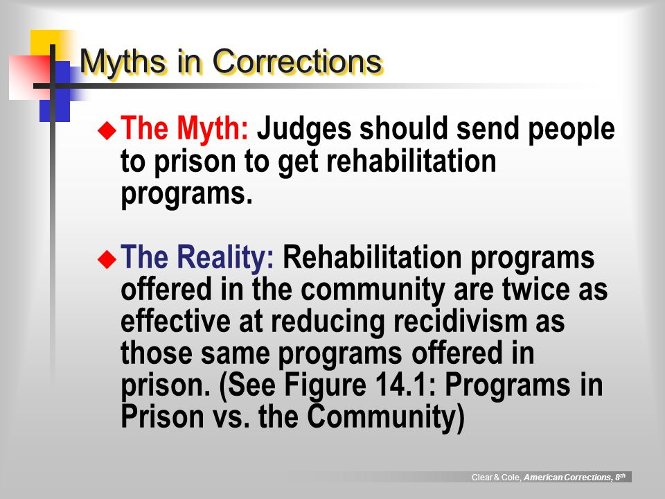 the effectiveness of community correction programs The act funded existing community programs and developed in order to determine if programs are being delivered in an effective manner and adhere to the principles of evidence based practices, all programs that receive community corrections funding must undergo an evaluation.