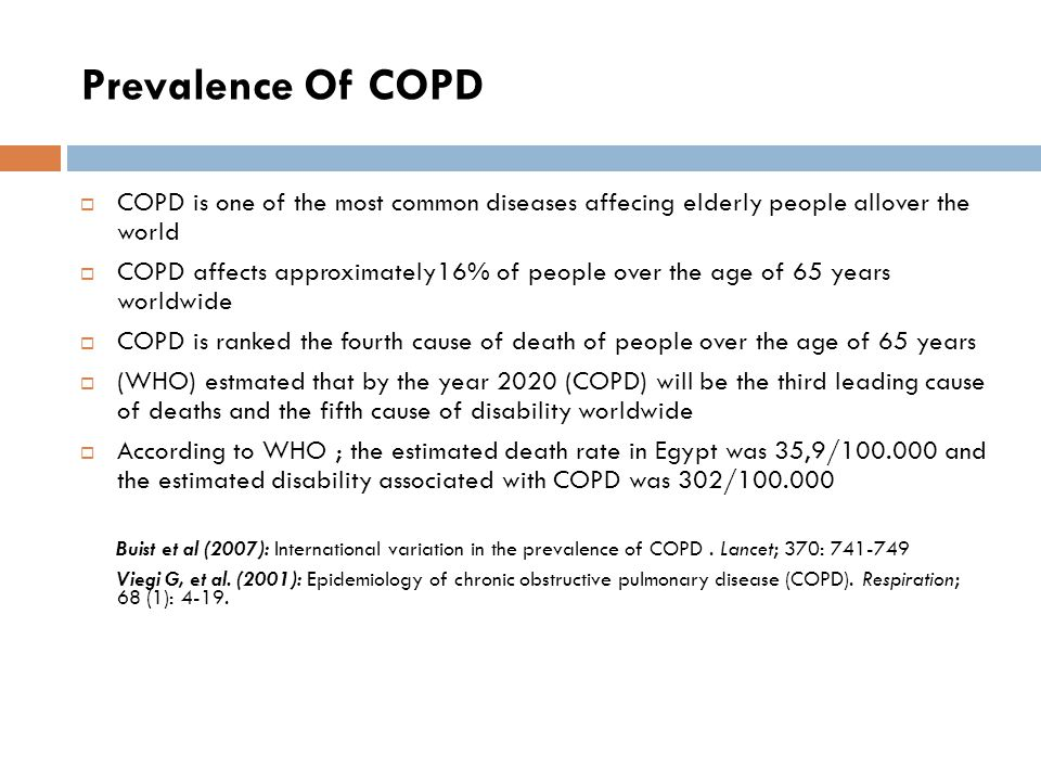 Prevalence Of COPD COPD is one of the most common diseases affecing elderly people allover the world.