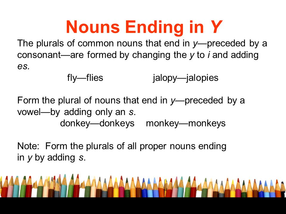 to change words ending in y from a singular form to a plural form ...