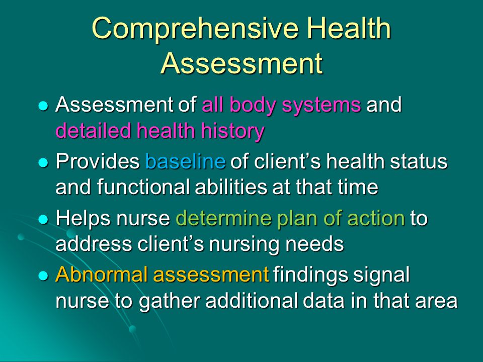 comprehensive health history Obtaining an accurate history is the critical first step in determining the etiology   successful interviewing requires that you avoid medical terminology and make  use  asking questions, peering into the life of an otherwise complete stranger.
