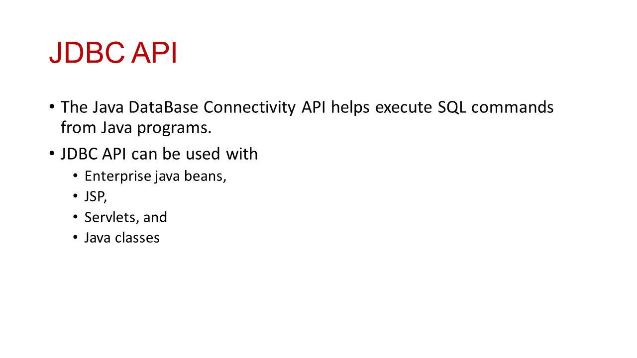 Introduction to j2ee dr n a joshi ppt download jdbc api the java database connectivity api helps execute sql commands from java programs jdbc baditri Images