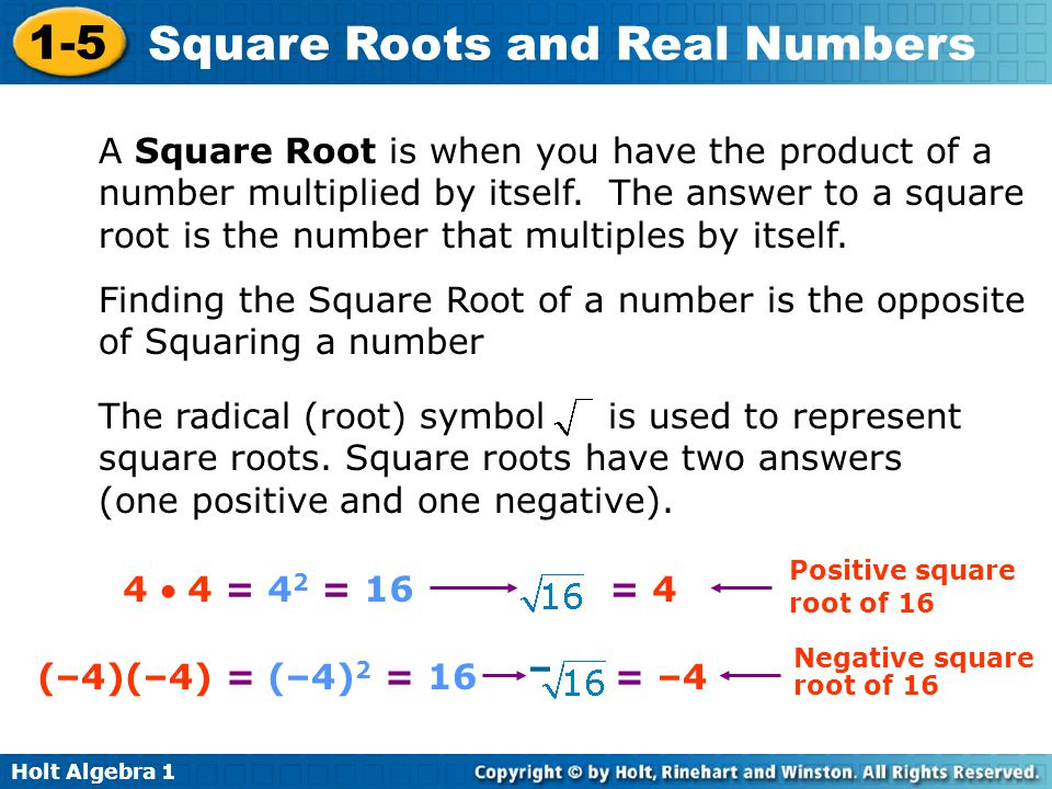 Finding the Square Root of a number is the opposite