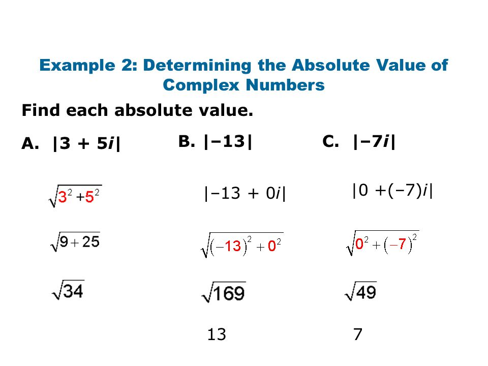 Example 2: Determining the Absolute Value of Complex Numbers