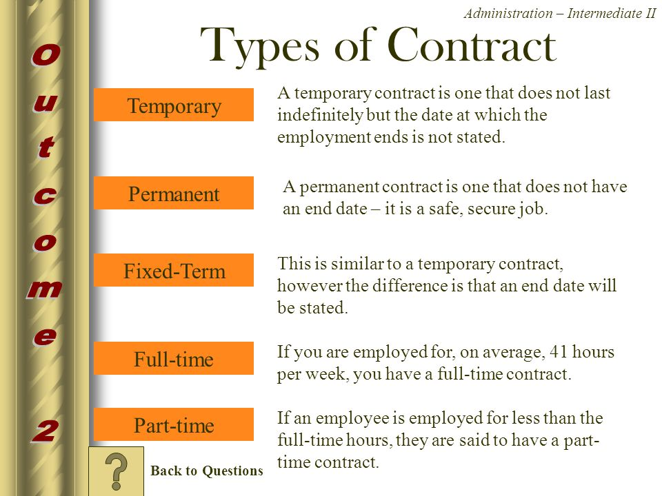 types of contract Employers' responsibilities for different contract types: full-time, part-time, fixed term, agency workers, consultants, zero hours, family members, volunteers and young workers.