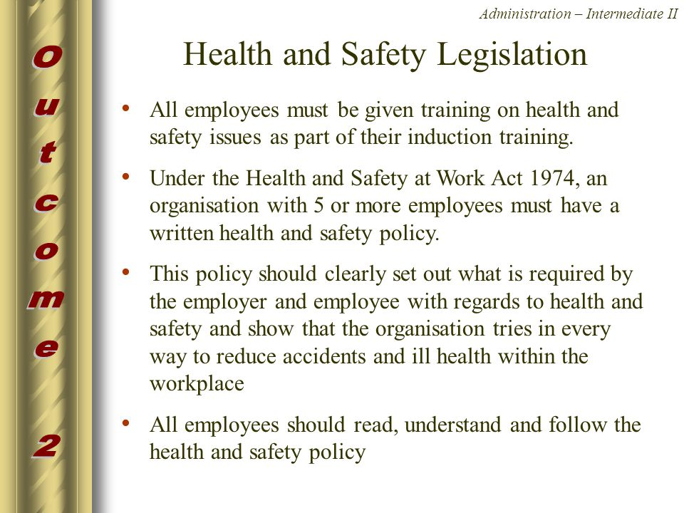 how current health and safety legislation Changes to legislation: health and safety at work etc act 1974 is up to date with all changes known to be in force on or before 19 april 2018.