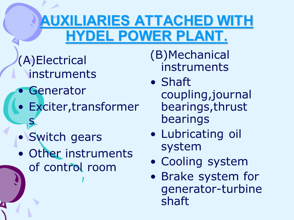 AUXILIARIES ATTACHED WITH HYDEL POWER PLANT.