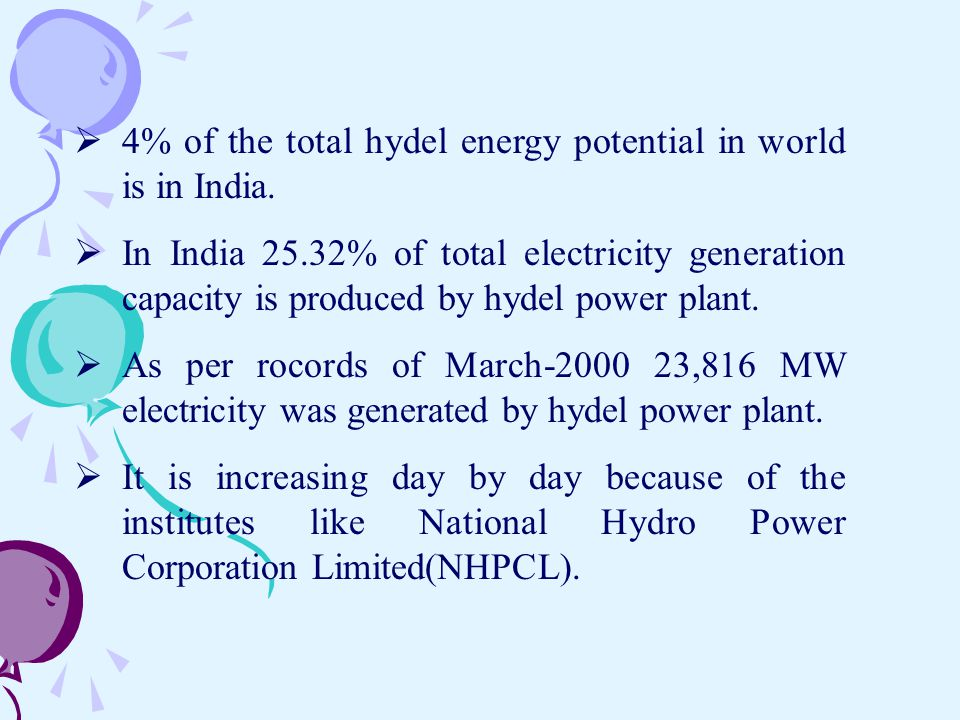 4% of the total hydel energy potential in world is in India.