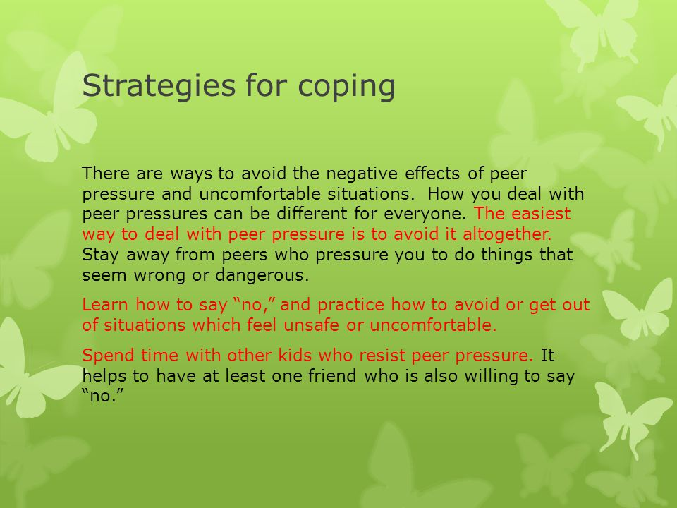 negative effects of peer pressure Most people think of peer pressure as a negative thing — influencing a teen to  engage in risky behavior — but peer pressure can also be.