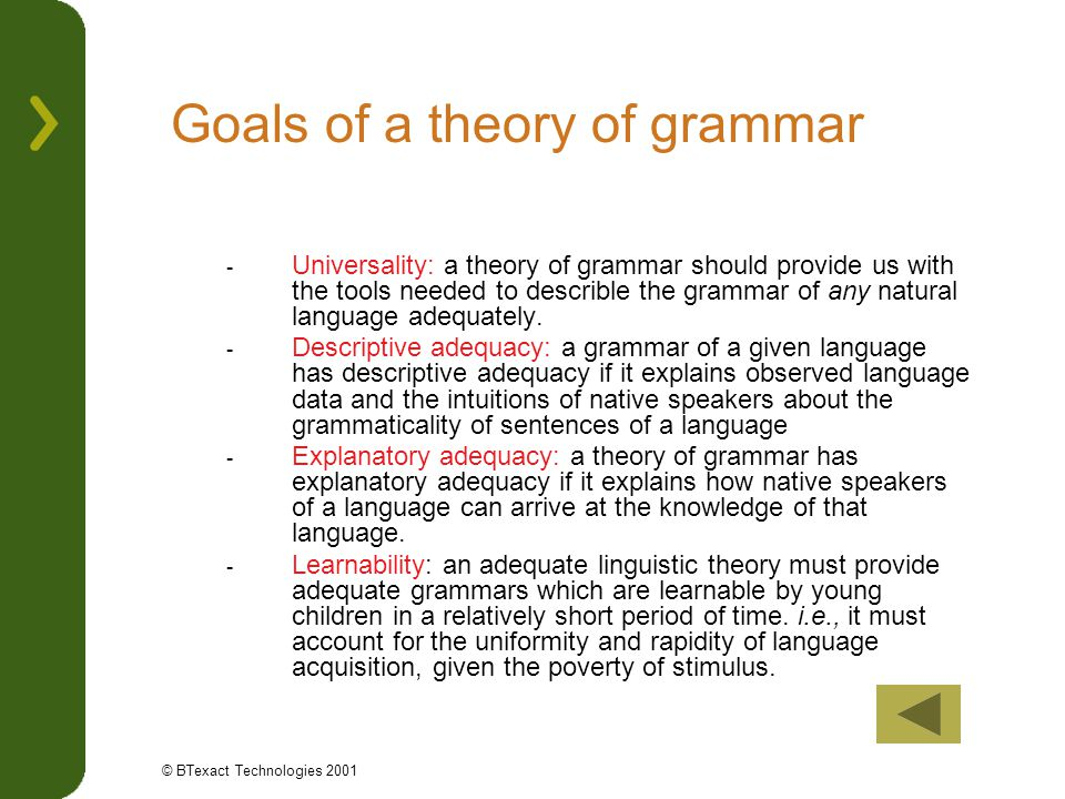 Goals of a theory of grammar