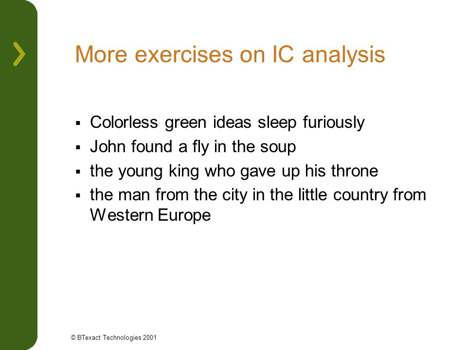 More exercises on IC analysis