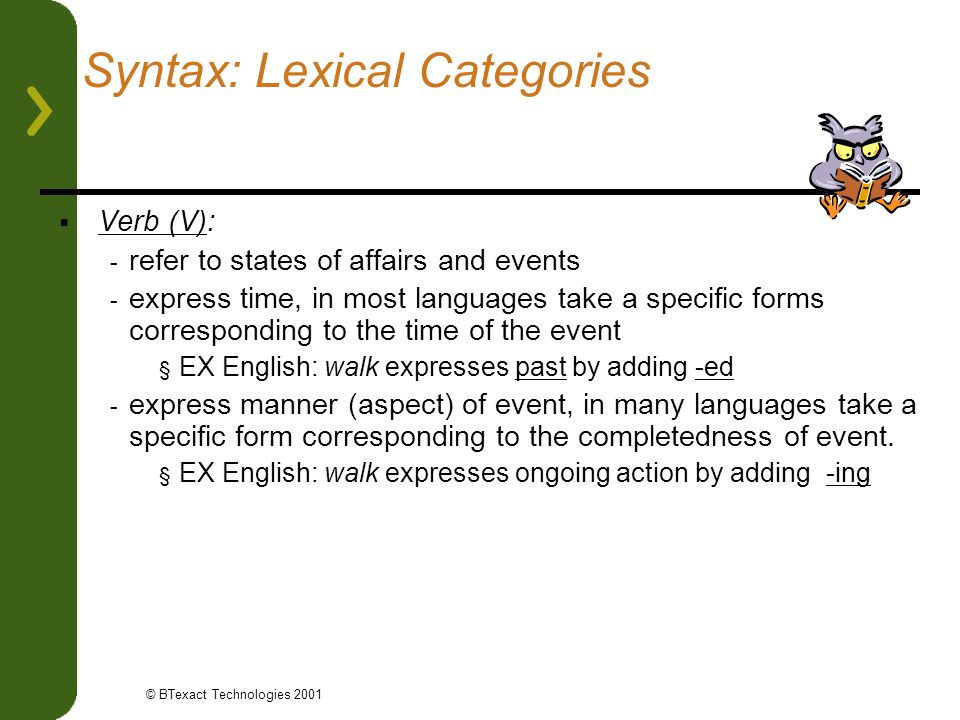 Syntax: Lexical Categories