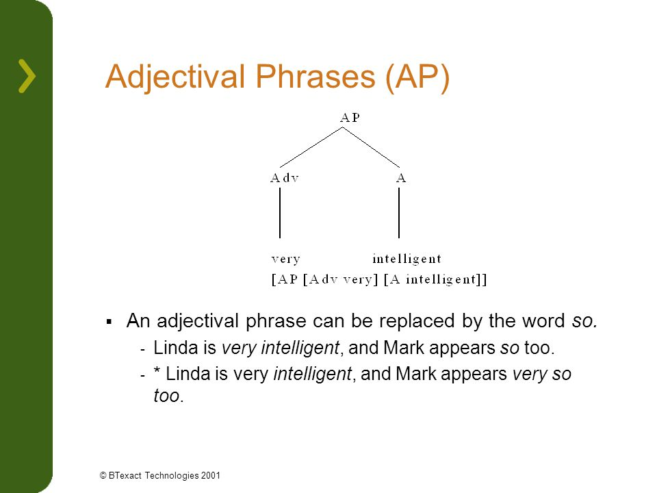 Adjectival Phrases (AP)