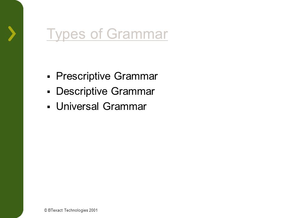 Types of Grammar Prescriptive Grammar Descriptive Grammar