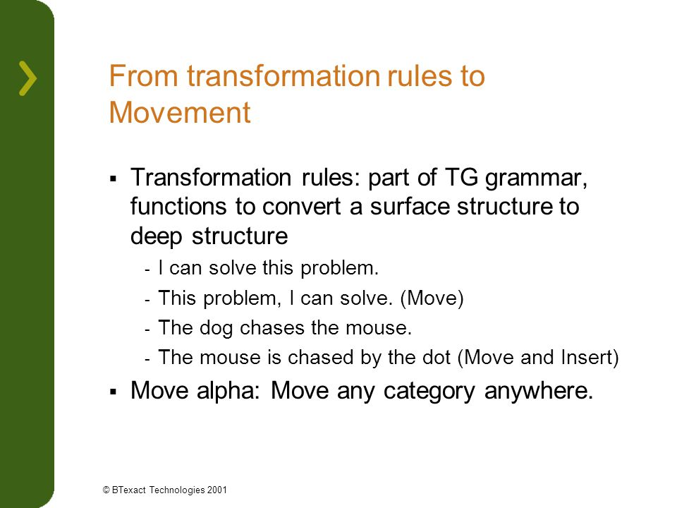 From transformation rules to Movement