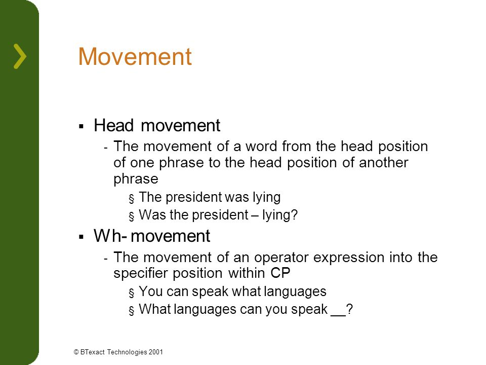 Movement Head movement Wh- movement