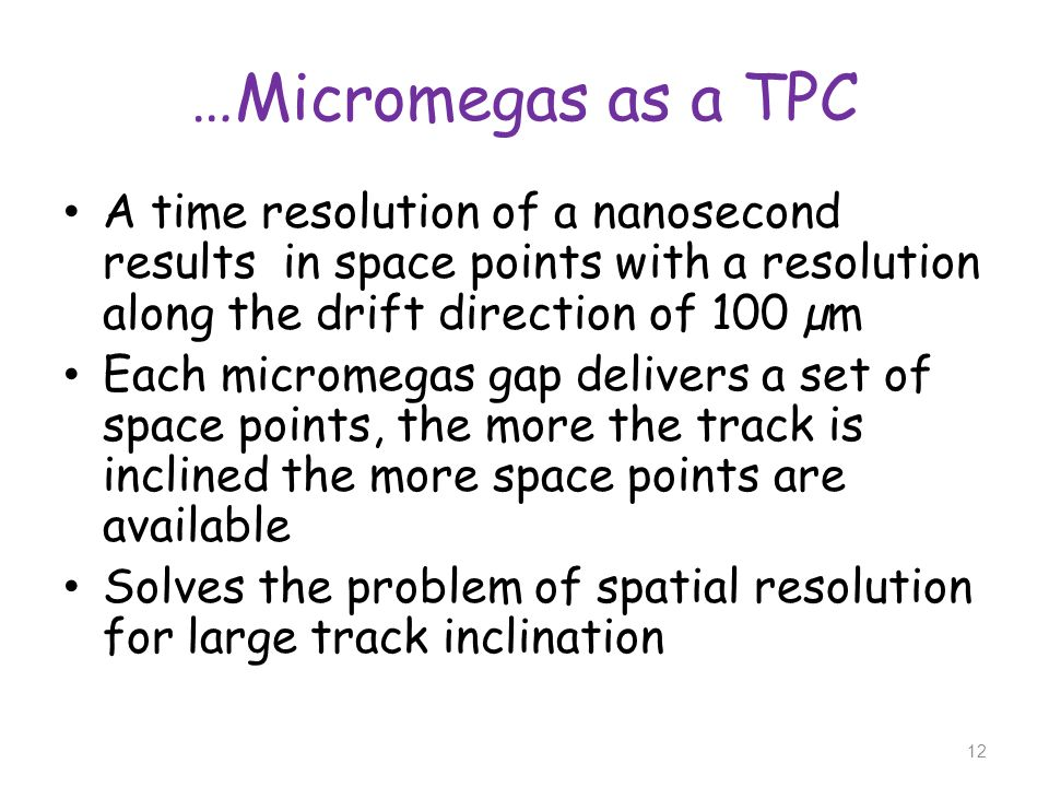 …Micromegas as a TPCA time resolution of a nanosecond results in space points with a resolution along the drift direction of 100 µm.