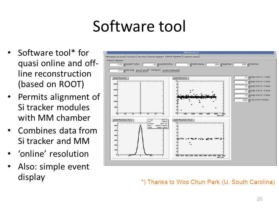 Software tool Software tool* for quasi online and off-line reconstruction (based on ROOT) Permits alignment of Si tracker modules with MM chamber.