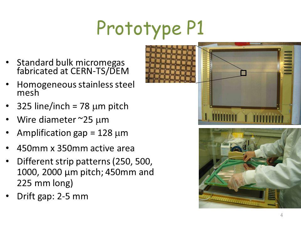 Prototype P1 Standard bulk micromegas fabricated at CERN-TS/DEM
