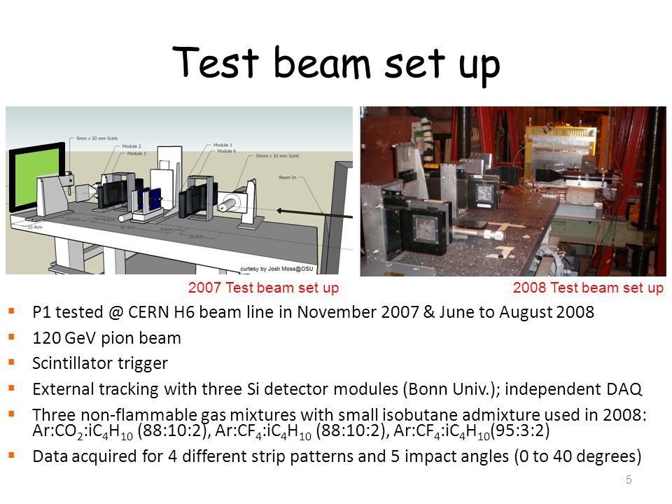 Test beam set up2007 Test beam set up. 2008 Test beam set up. P1 tested @ CERN H6 beam line in November 2007 & June to August 2008.