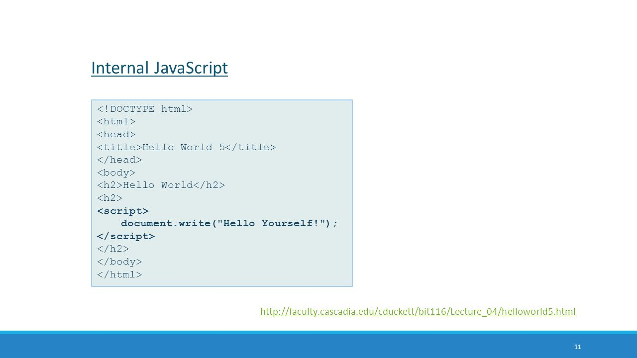 Internal JavaScript <!DOCTYPE html> <html> <head>