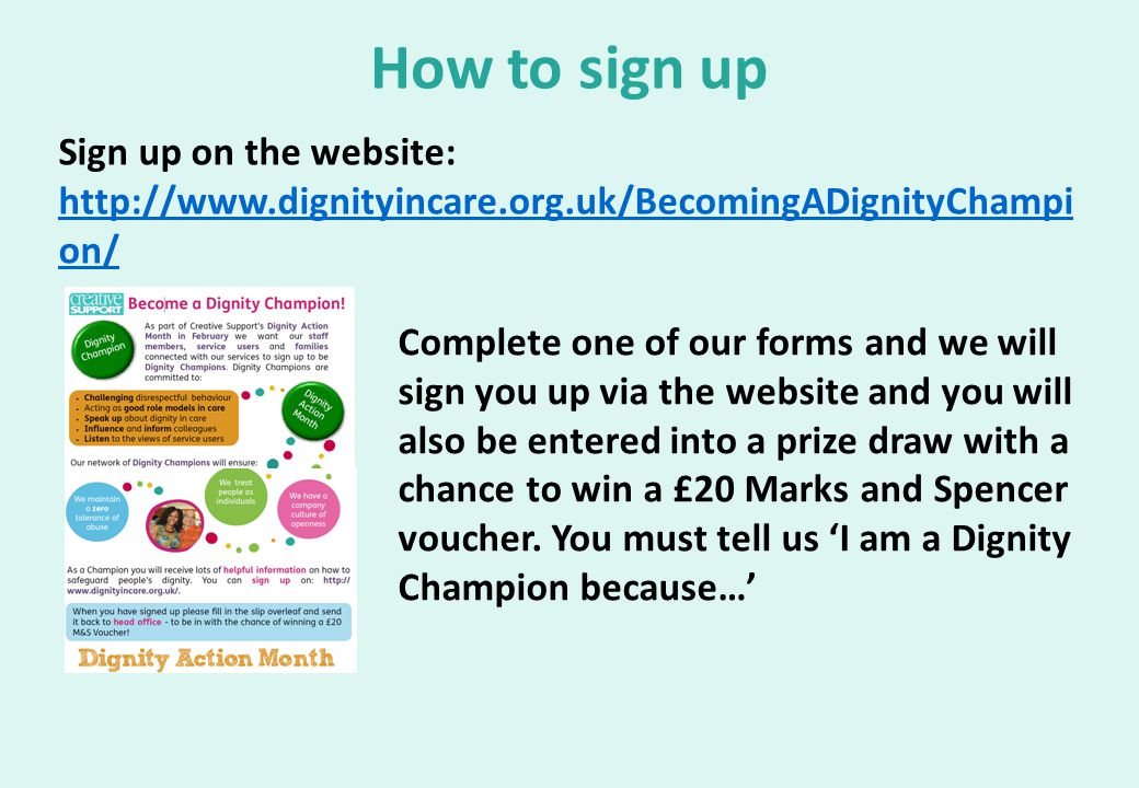 How to sign up Sign up on the website: