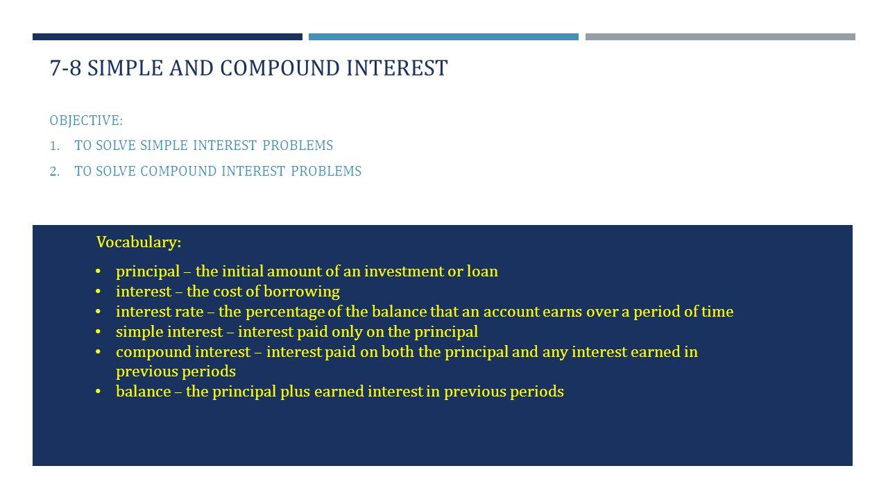 worksheet Compound Interest Word Problems Worksheet 7 8 simple and compound interest ppt video online download interest