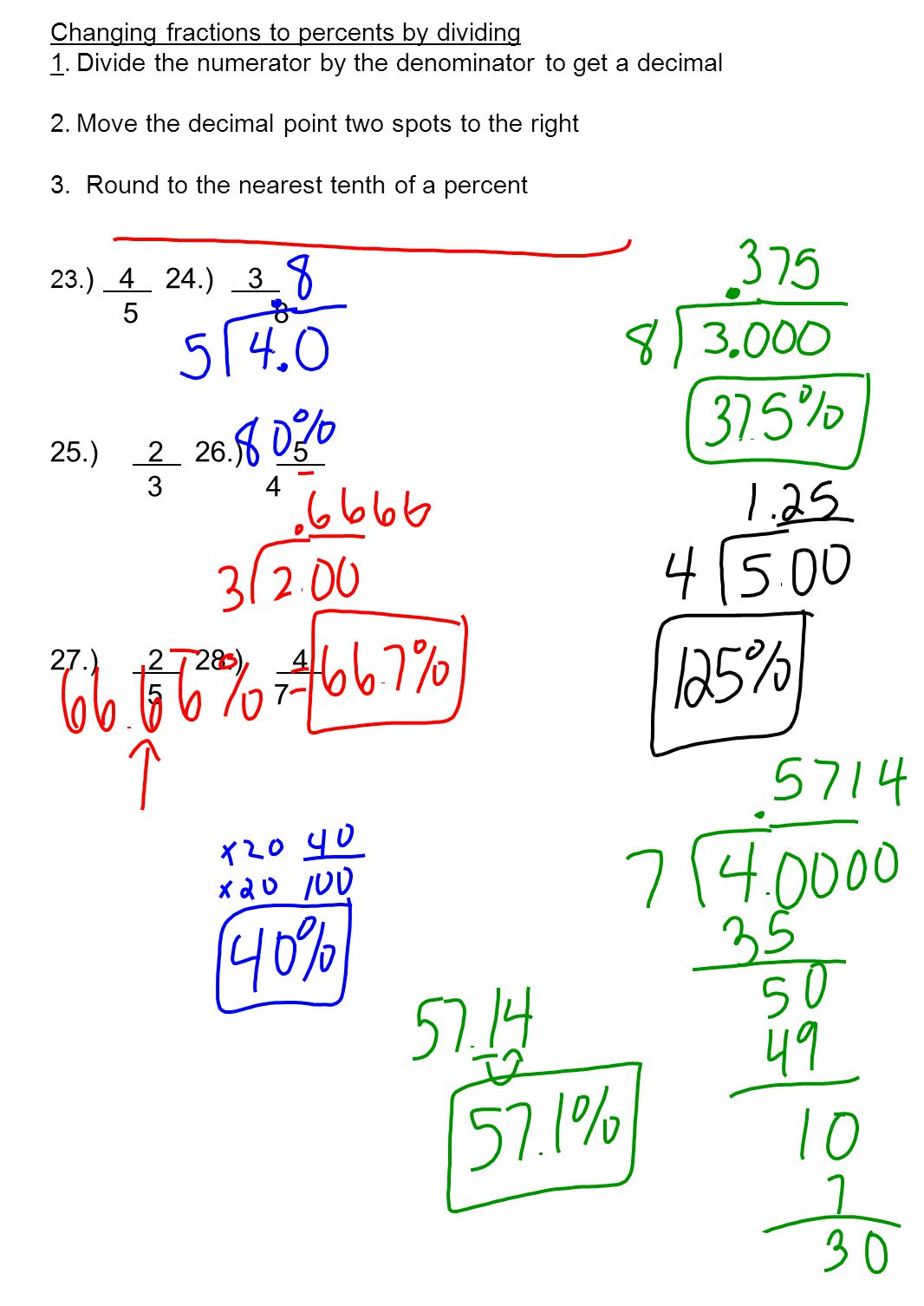 Changing Fractions To Percents By Dividing