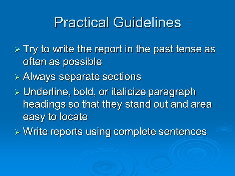 How to write a comprehensive report