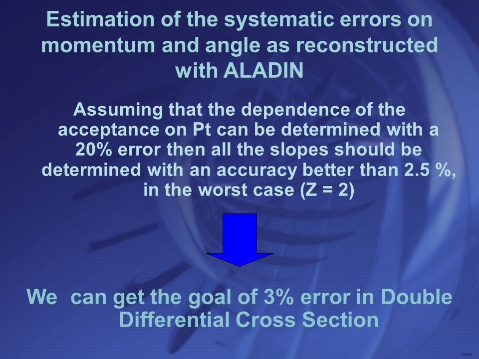 We can get the goal of 3% error in Double Differential Cross Section