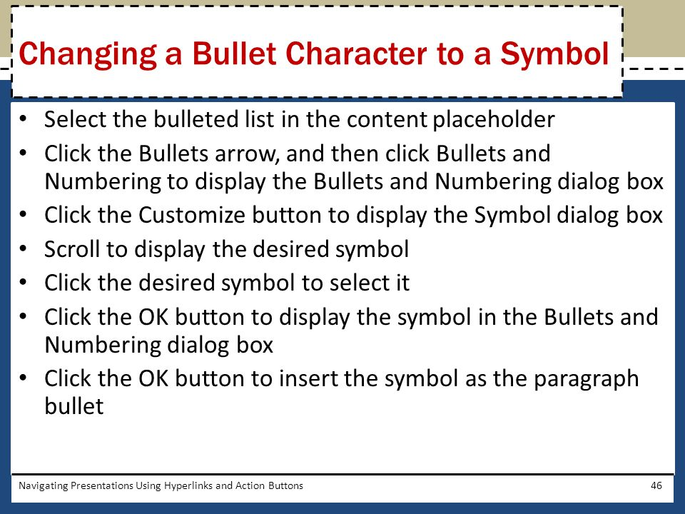 chapter 6 navigating presentations using hyperlinks and