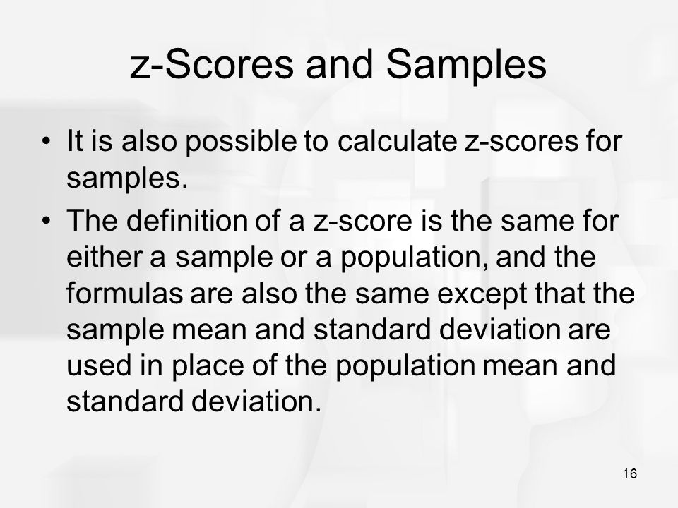 how to find population and sample score