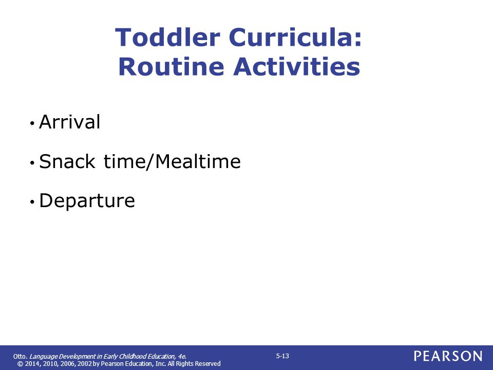 Toddler Curricula: Routine Activities