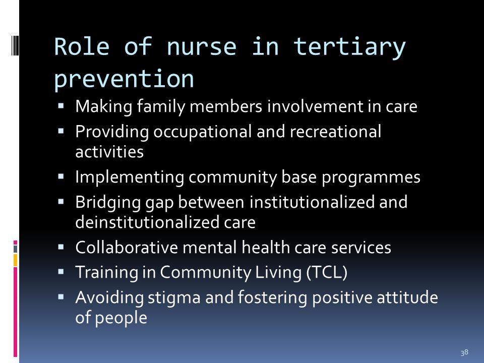 role of nurse in community mental The mental health nurses role social work essay print  one of the most important duties of the community mental health nurse is to ensure the health and wellbeing .